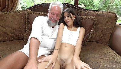 Teen brunette Anya Krey fucked and swallows cum of an older man
