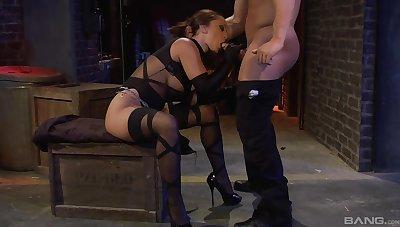 Amazing Liza Del Sierra sucking before she jumps on a hard guy's pecker