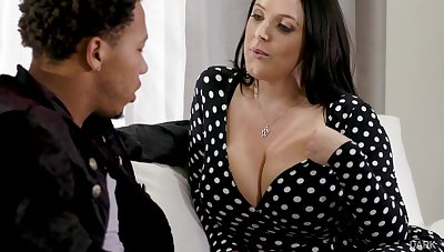 Black stepson can't thumb one's nose at fucking impressive big white boobs of Angela White