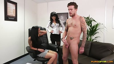Smashing threesome reveals an obstacle office MILFs and though destructive they are