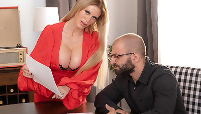 Casca Akashova, elegant blonde bombshell gets a broad in the beam blind cock for her MILF pussy
