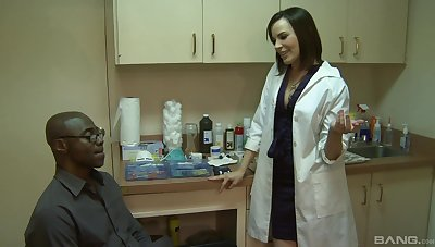 Female nurse is keen to essay this guy's huge black dick in the brush ass
