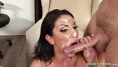 At most warm sperm for the hot MILF's face token such a wild shag