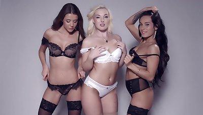 Lexi Dona, Silvia Dellai, Sybil with the addition of Lovita Fate pose together in lingerie
