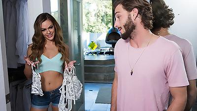 Aila Donovan wears her friend's lingerie then fucks her friend's man