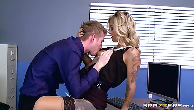 Naughty Kleio Valentien misbehaves during in-office topic