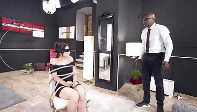 Deepthroated and anal fucked in scenes of lovely BDSM interracial