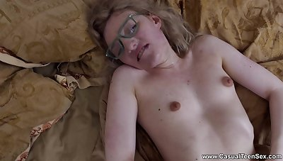 Nerdy young blonde tons daddy's dick in both holes