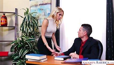 Leggy secretary in stockings Khloe Kapri gets her pussy licked and fucked