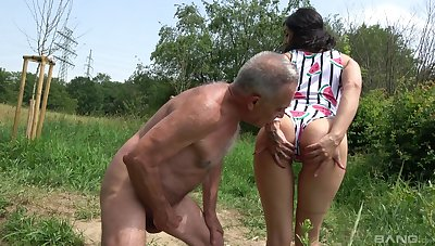Clothed porn on a senior man's energized cock